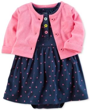Carters 2Pc Cardigan  DotPrint BodysuitDress Set Baby Girls (024 months)