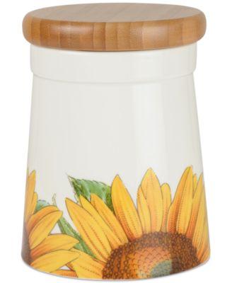 """Botanic Garden Blooms Sunflower 4.5"""" Storage  Jar"""