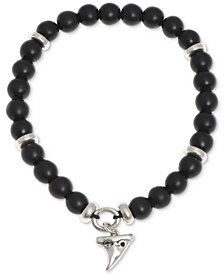 R.T. James Men's Silver-Tone Black Beaded Stretch Bracelet, Created for Macy's