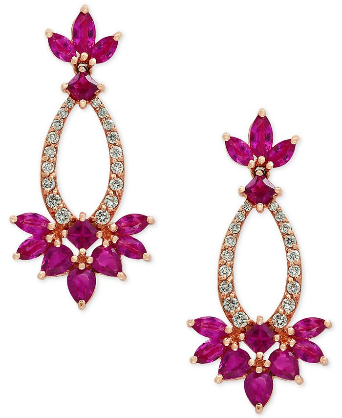EFFY Collection - Certified Ruby (3-3/4 ct. t.w.) and Diamond (1/3 ct. t.w.) Drop Earrings in 14k Rose Gold
