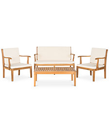 Haydon Outdoor 4-Pc. Seating Set (1 Loveseat, 2 Chairs & 1 Coffee Table), Quick Ship