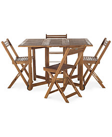 Kinsie Outdoor 5-Pc. Dining Set (1 Dining Table & 4 Chairs), Quick Ship
