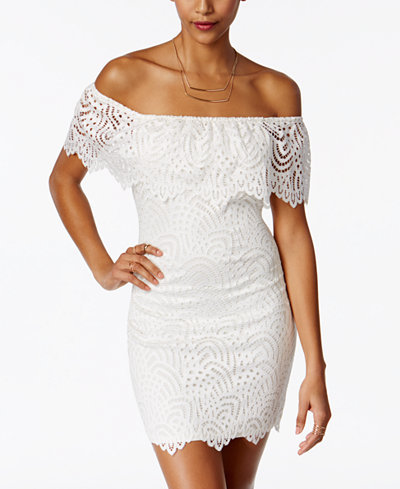 Material Girl Juniors' Off-The-Shoulder Lace Ruffle Bodycon Dress
