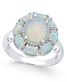 Opal Flower Ring (2-1/5 ct. t.w.) in Sterling Silver
