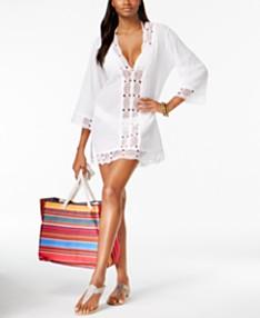 625cde8969c855 La Blanca Island Fare Cotton Crochet-Trim Tunic