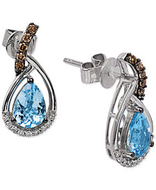 Le Vian Chocolatier® Sea Blue Aquamarine® (1 ct. t.w.) and Diamond (1/6 ct. t.w.) Drop Earrings in 14k White Gold