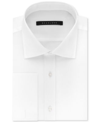Men's Classic/Regular Fit White Solid French Cuff Cotton Dress Shirt