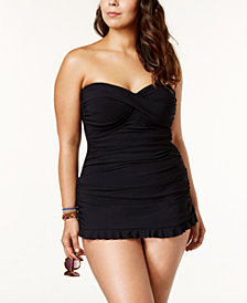 Profile by Gottex Plus Size Tummy-Control Ruched Ruffled Swimdress