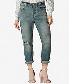 Avec Les Filles Cotton High-Waist Cropped Jeans