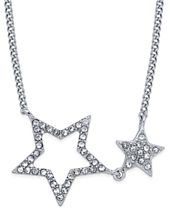 INC International Concepts Silver-Tone Double Star Pavé Pendant Necklace, Created for Macy's