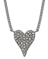 INC International Concepts Silver-Tone Pavé Heart Pendant Necklace, Created for Macy's