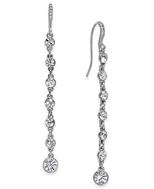 INC Silver-Tone Crystal Linear Drop Earrings, Created for Macy's