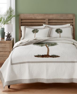 Lone Palm Cotton Embroidered Twin Quilt, Created for Macy's