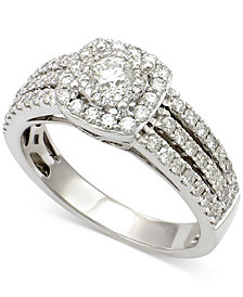Diamond Multi-Row Square Halo Engagement Ring (1 ct. t.w.) in 14k White Gold