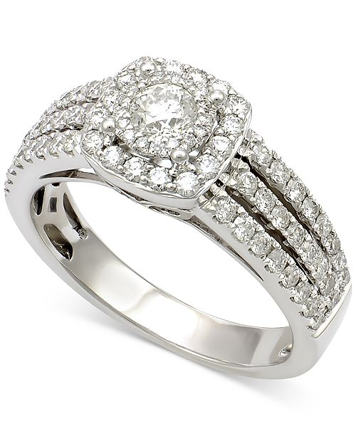 Macy's Diamond Multi-Row Square Halo Engagement Ring (1 ct. t.w.) in 14k White Gold