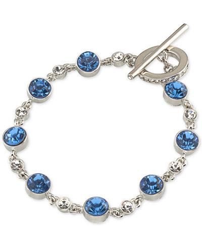 Carolee Silver-Tone Blue & Clear Crystal Toggle Bracelet