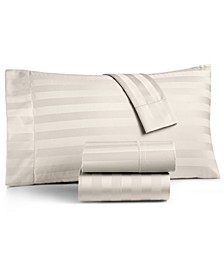 Ivory Stripe Extra Deep Pocket Queen 4-Pc Sheet Set, 550 Thread Count 100% Supima Cotton, Created for Macy's
