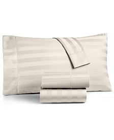 Charter Club Damask Ivory Stripe Extra Deep Pocket Queen 4-Pc Sheet Set, 550 Thread Count 100% Supima Cotton, Created for Macy's