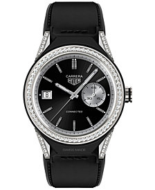 TAG Heuer Modular Connected 2.0 Men's Swiss Diamond-Accent Black Leather Strap Smart Watch 45mm