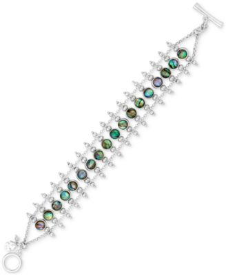 Image of Lucky Brand Silver-Tone Abalone-Look Ladder Toggle Bracelet