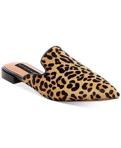 Steve Madden Steven by Steve Madden Valent Leopard Print Calf Hair Block Heel Mules QTwsV