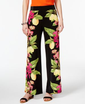Inc International Concepts Lemon-Print Soft Pants, Only at Macy's