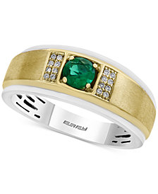 EFFY® Men's Emerald (1/2 ct. t.w.) and Diamond Accent Ring in 14k Gold and White Gold