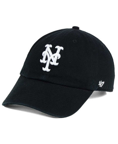'47 Brand New York Mets Black White Clean Up Cap