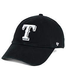 '47 Brand Texas Rangers Black White Clean Up Cap