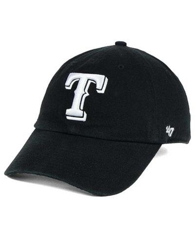 '47 Brand Texas Rangers Black White Clean Up Cap