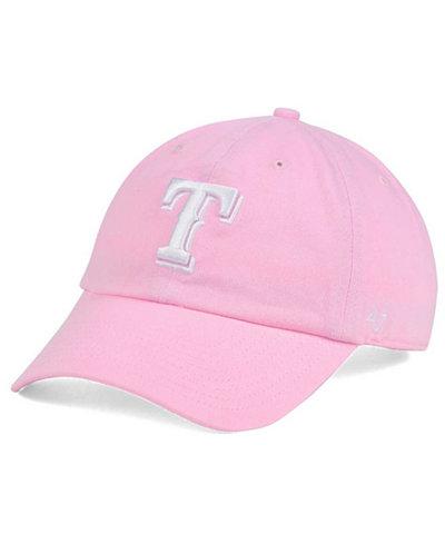 '47 Brand Women's Texas Rangers Pink/White Clean Up Cap
