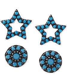 2-Pc. Set Manufactured Turquoise Star and Oval Stud Earrings in Sterling Silver