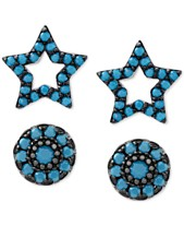 6cc25d7c4 2-Pc. Set Manufactured Turquoise Star and Oval Stud Earrings in Sterling  Silver