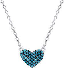 Manufactured Turquoise Heart Pendant Necklace in Sterling Silver