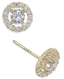 Flower Cluster Cubic Zirconia Stud Earrings in 10K Gold