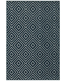 "CLOSEOUT!  Soleil Vector Navy 9'10"" x 12'10"" Indoor/Outdoor Area Rug"