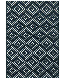"CLOSEOUT! JHB Design  Soleil Vector Navy 9'10"" x 12'10"" Indoor/Outdoor Area Rug"