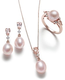 Pink Cultured Pearl, Morganite and Diamond Jewelry Collection in 14k Rose Gold