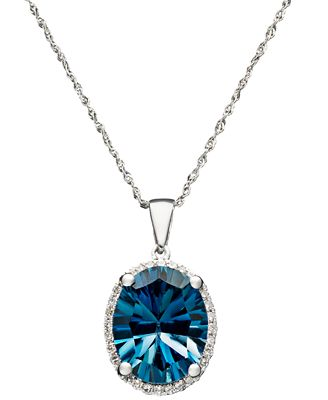 London Blue Topaz (4-1/10 ct. t.w.) and Diamond Accent Oval Pendant in 14k White Gold