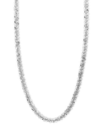 """14k White Gold Necklace, 18"""" Faceted Chain (1-1/2mm)"""