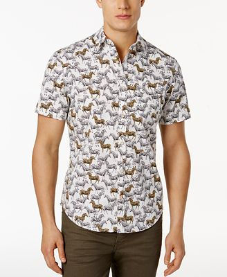 Original Penguin Men's Slim-Fit Zebra-Print Short-Sleeve Shirt ...
