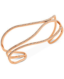 Michael Kors Rose Gold-Tone Pavé Open Bangle Bracelet