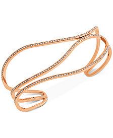 Michael Kors Rose Gold-Tone Pavé Open Bangle Bracelet