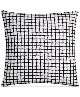 "CLOSEOUT!  Linen Plaid 22"" Square Decorative Pillow, Created for Macy's"