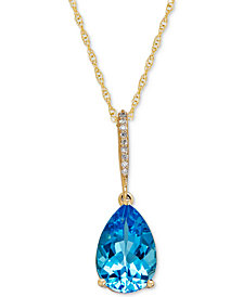Blue Topaz (3-3/8 ct. t.w.) & Diamond Accent Pendant Necklace in 14k Gold