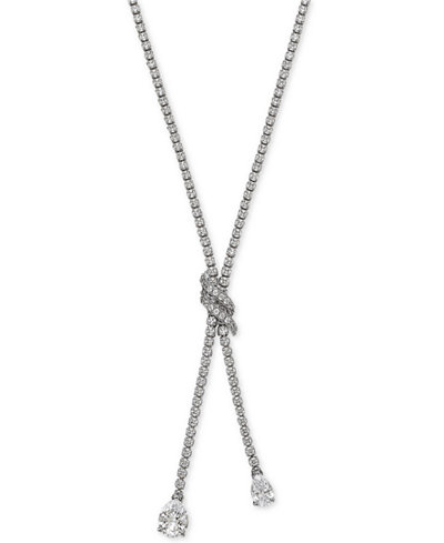 Arabella Swarovski Zirconia Lariat Necklace in Sterling Silver