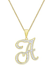"Diamond Accent Script Initial 18"" Pendant Necklace in 18k Gold Plate"