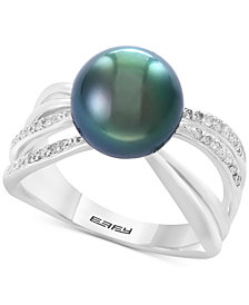 Pearl Lace by EFFY® Cultured Black Tahitian Pearl (10mm) and Diamond (1/6 ct. t.w.) Ring in Sterling Silver