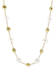 Pearl Lace by EFFY® Cultured Freshwater Pearl (7mm) Statement Necklace in 14k Gold-Plated Sterling Silver