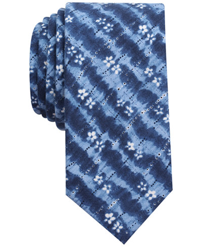 Bar III Men's Indigo Tie Dye Print Skinny Tie, Created for Macy's